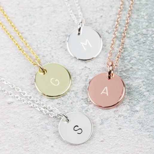 ec07363bf1ba4 Personalised Disc Charm Initial Necklace