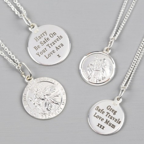 Personalised sterling silver st christopher necklace lisa angel personalised sterling silver st christopher pendant necklace aloadofball Gallery