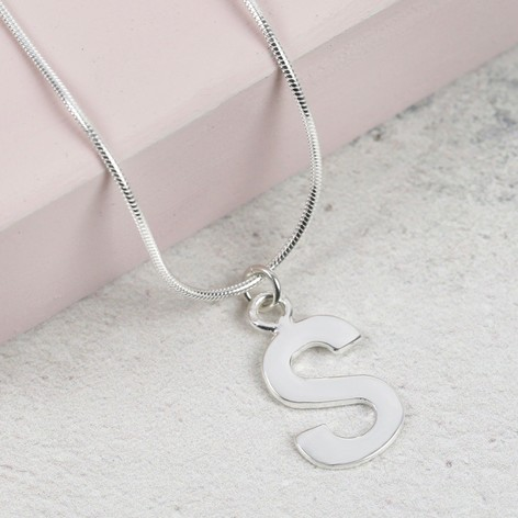 23b4763969ad Sterling Silver Initial Charm Necklace