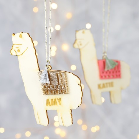 personalised wood and acrylic llama hanging decoration