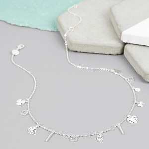 Short Silver Botanical Charm Necklace