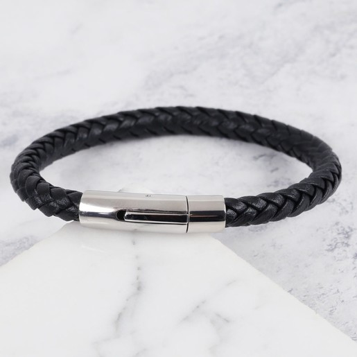 4202e37779c11 Lisa Angel Engraved Men s  Trigger Happy  Leather Bracelet ...
