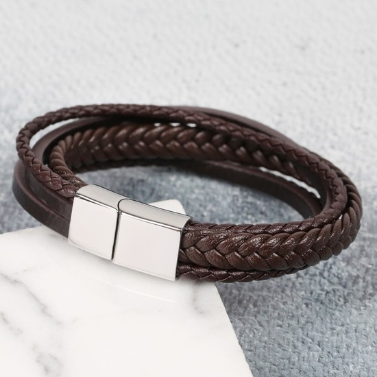 Brown Leather mixed Layered men's bracelet - M