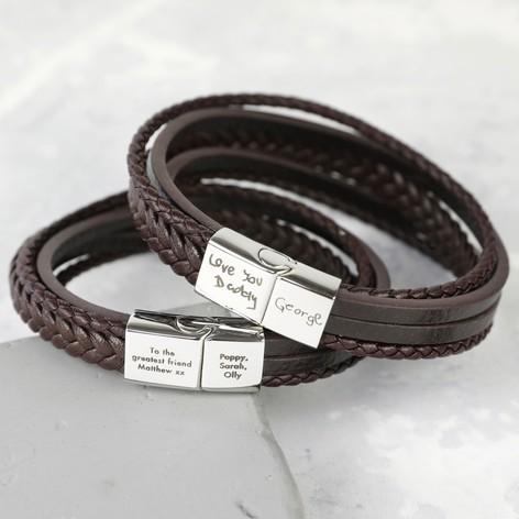 Men S Personalised Layered Leather Straps Bracelet Lisa