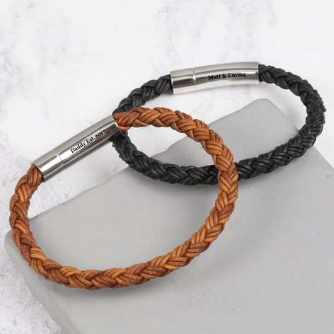 Men S Engraved Rustic Braided Leather Bracelet Lisa Angel