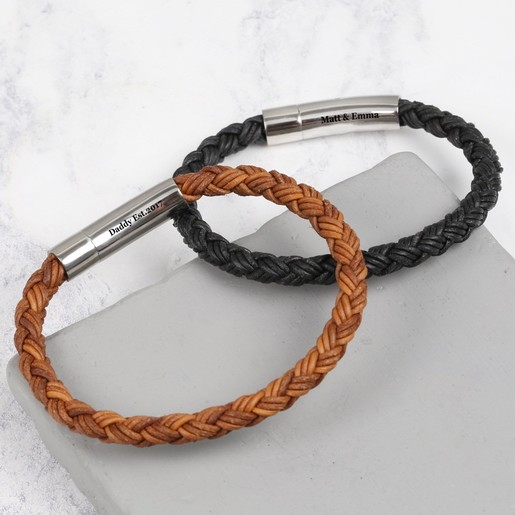 21a1794750a76 Men's Personalised Rustic Braided Leather Bracelet