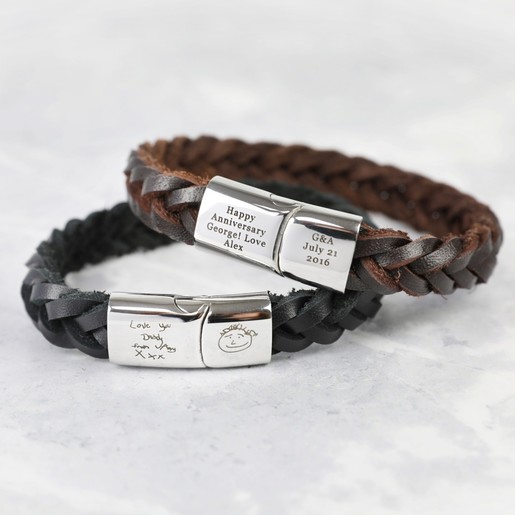0d3385ebd37e9 Personalised Men's Thick Woven Leather Bracelet