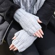 Ladies' Knitted Hand Warmers on Model
