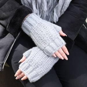 Knitted Hand Warmers in Grey