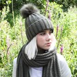 Ladies' Knitted Scarf with Tassels in Khaki