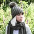 Lisa Angel Ladies' Knitted Pom Pom Hat in Khaki