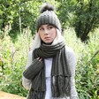 Lisa Angel Ladies' Embroidered Knitted Scarf with Tassels in Khaki