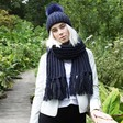 Lisa Angel Ladies' Embroidered Knitted Scarf with Tassels in Navy