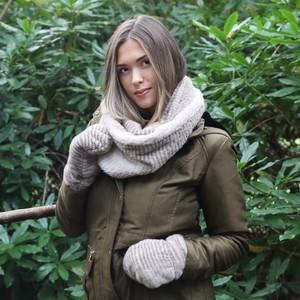 Long Striped Mink Faux Fur Snood