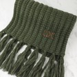 Embroidered Personalised Knitted Scarf with Tassels in Khaki