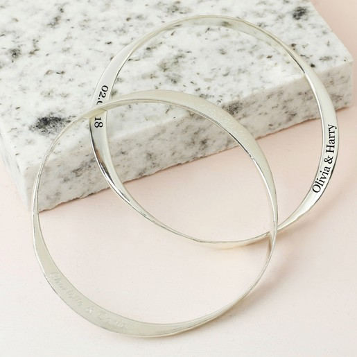 1c4309d713ee1a Lisa Angel Ladies' Personalised Hammered Sterling Silver Bangle