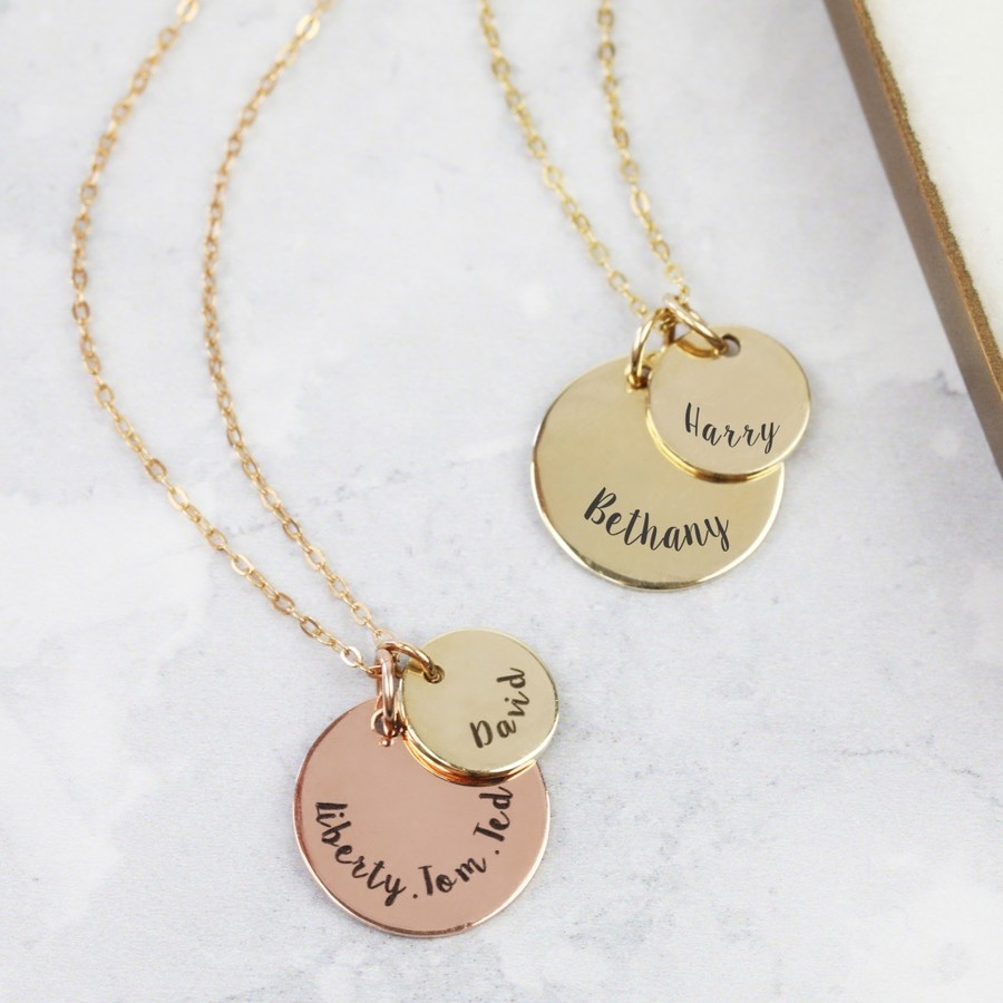 gold full disc double necklace size