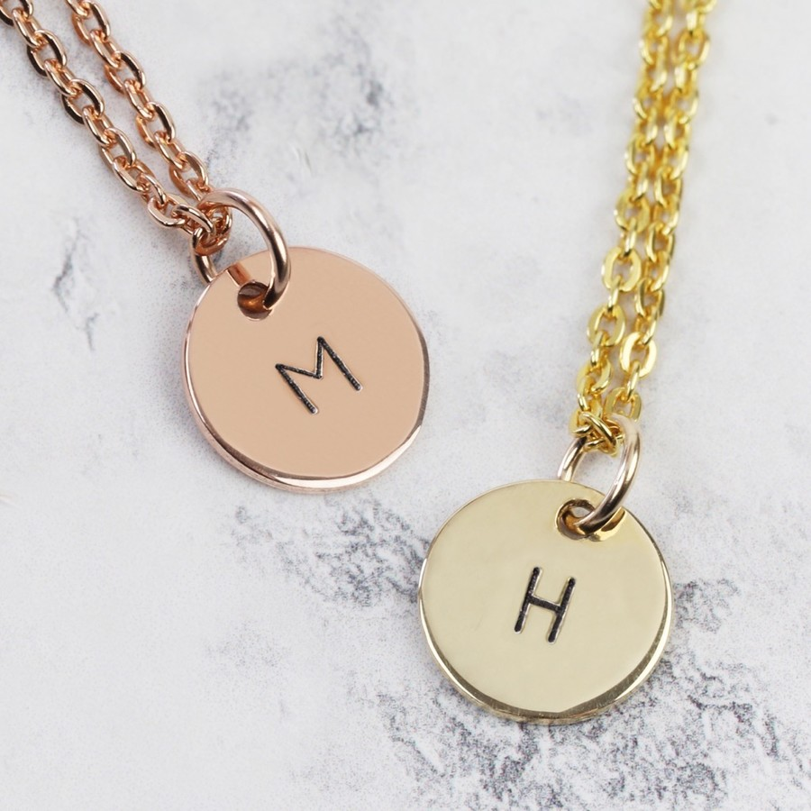 Hand stamped 9ct gold initial disc charm necklace lisa angel aloadofball Images