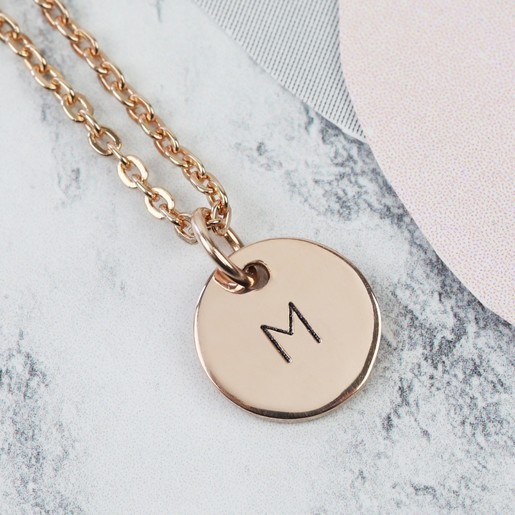 cb03c7ff15f Lisa Angel Ladies' Fine Personalised Solid Gold Initial Disc Charm Necklace
