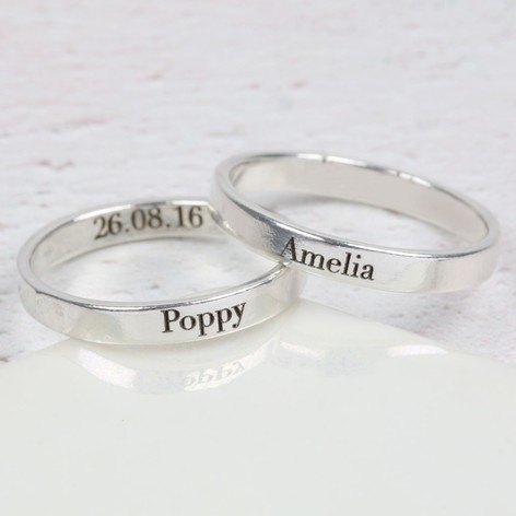 personalised engraved sterling silver name ring lisa angel. Black Bedroom Furniture Sets. Home Design Ideas