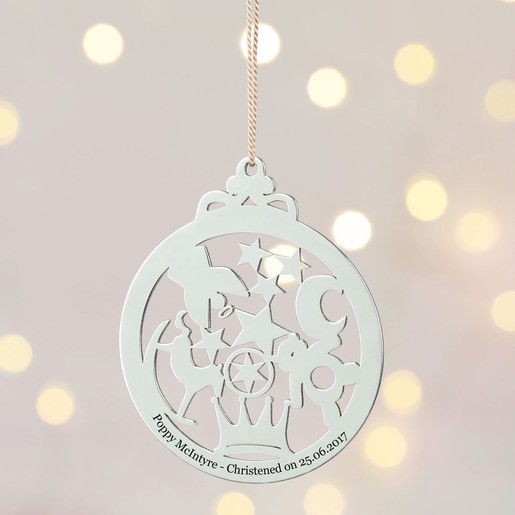Christmas Christening.Personalised Sterling Silver Christening Decoration