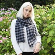 Lisa Angel Ladies' Blue and Black Block Chequered Scarf