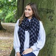 Lisa Angel Ladies' Soft Blue and Black Block Chequered Scarf