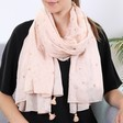 Lisa Angel Gold Foil Moon and Stars Scarf in Peach