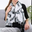 Ladies' Monochrome Pineapples Pom Pom Scarf on Model