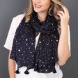 Lisa Angel Ladies' Starry Nights Foil Moon & Stars Scarf in Navy on Model