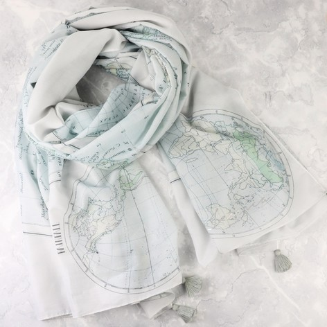 Personalised vintage world map scarf personalised vintage world map scarf gumiabroncs Choice Image