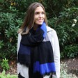 Lisa Angel Ladies' Soft Cobalt Blue Chequered Scarf