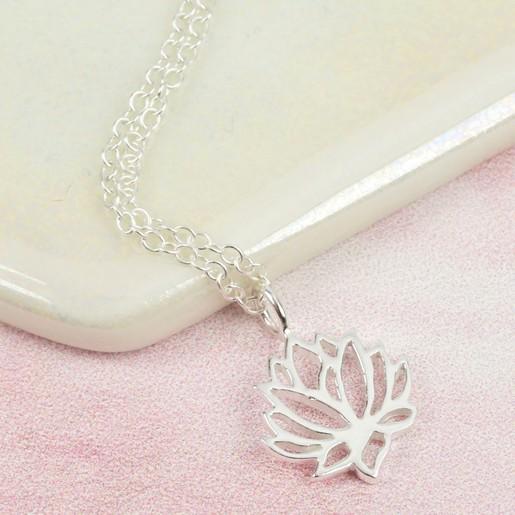 Sterling silver lotus flower jewellery set lisa angel jewellery ladies sterling silver lotus flower jewellery set necklace mightylinksfo