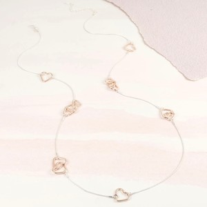 Long Rose gold Heart Silver Necklace