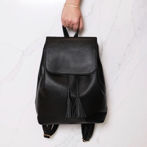 649b40337149 Lisa Angel Ladies  Faux Leather Black Fold Top Backpack