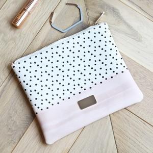 Wash Bag - Black Polka Dot & Blush Design - PU