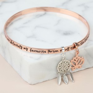 'My Favourite Person... ' Meaningful Words Charm Bangle Rose Gold