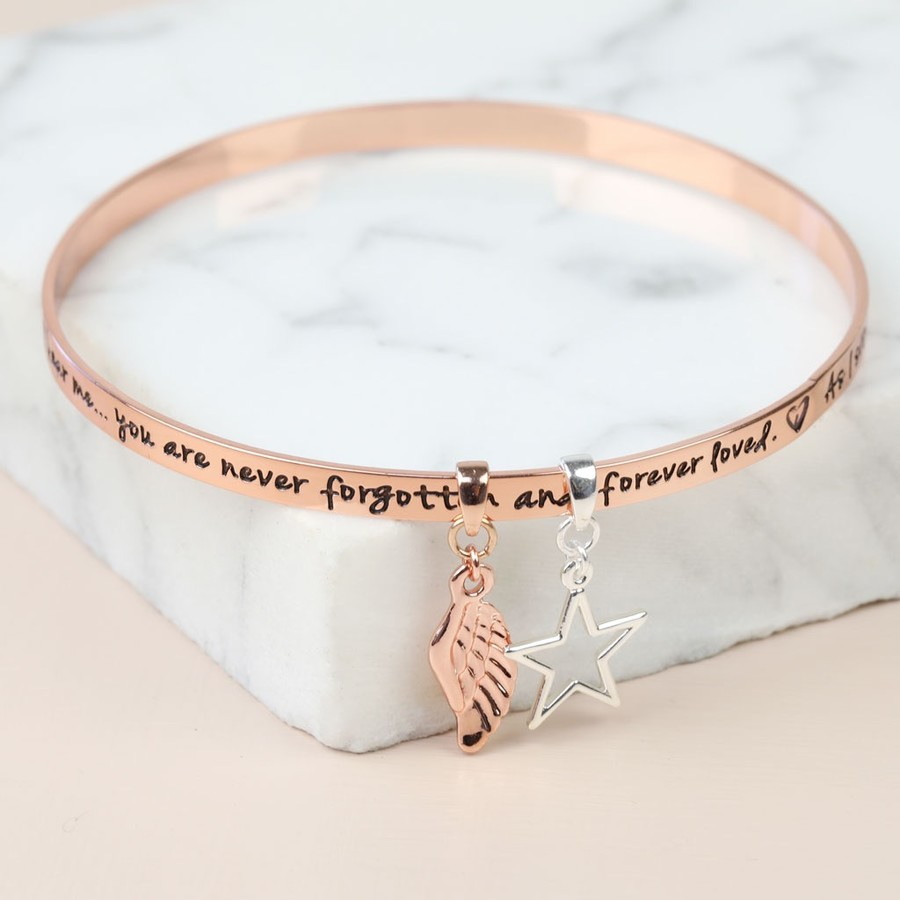 wonderful bangles charm bracelet bangle rose sentiment gold