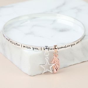 'Never Forgotten...' Meaningful Words Charm Bangle Silver