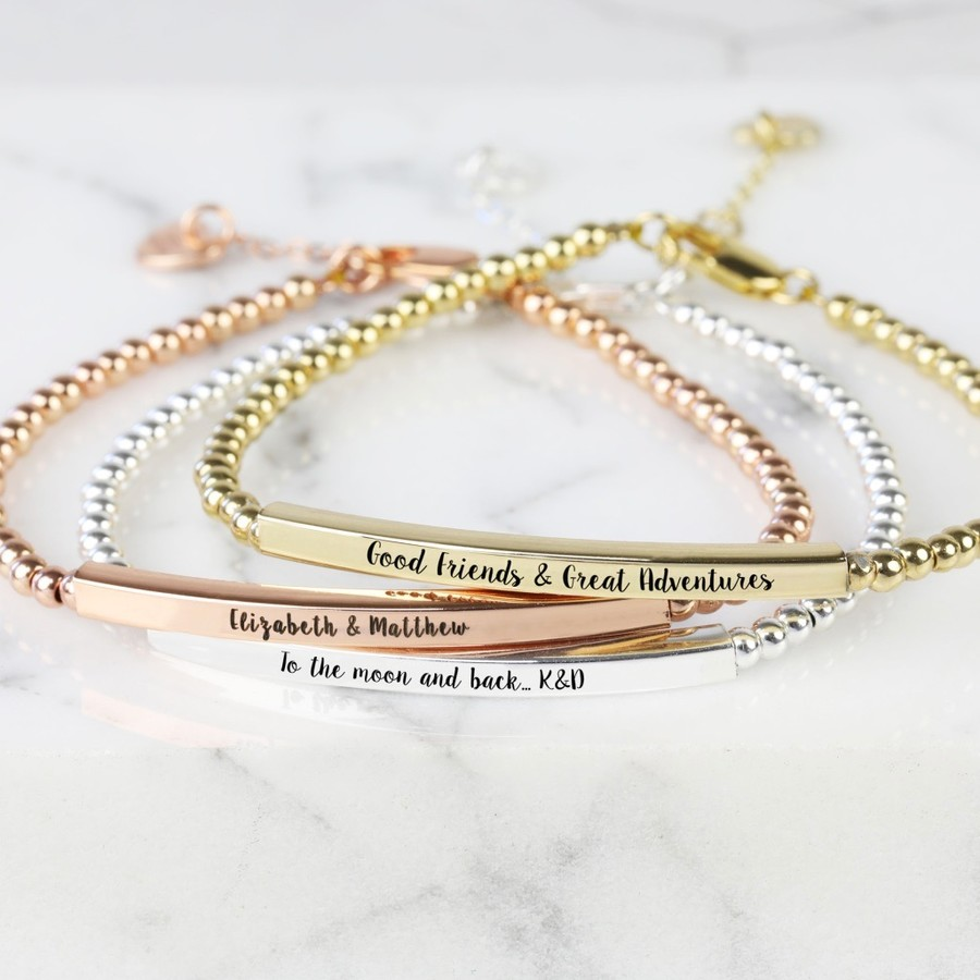 silver rosegold name bar day engraved pin bracelet bridesmaid nameplate gold jewelry valentines