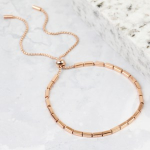 Beaded Bar and Chain Bracelet in Rose Gold
