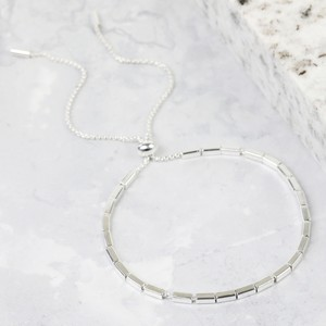 Beaded Bar and Chain Bracelet in Silver