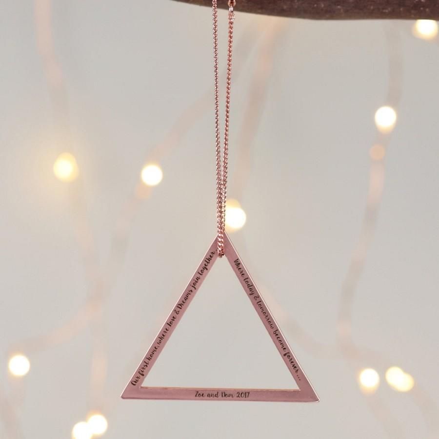 Personalised triangle hanging decoration lisa angel for Decoration maison rose gold