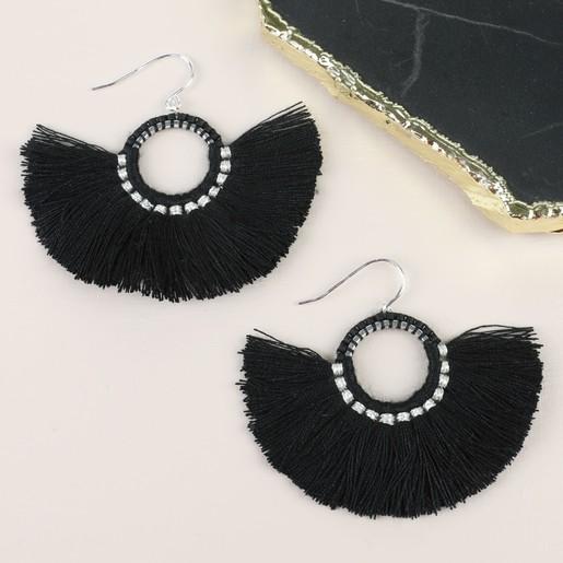 84351b86fe9494 Lisa Angel Ladies' Round Black Tassel Earrings in Sterling Silver