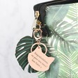 Personalised Rose Gold Cat Face Keyring on Bag