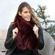 Lisa Angel Ladies' Burgundy Faux Fur Stole on Model