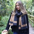 Women's Grey and Mustard Reversible Wrap Scarf