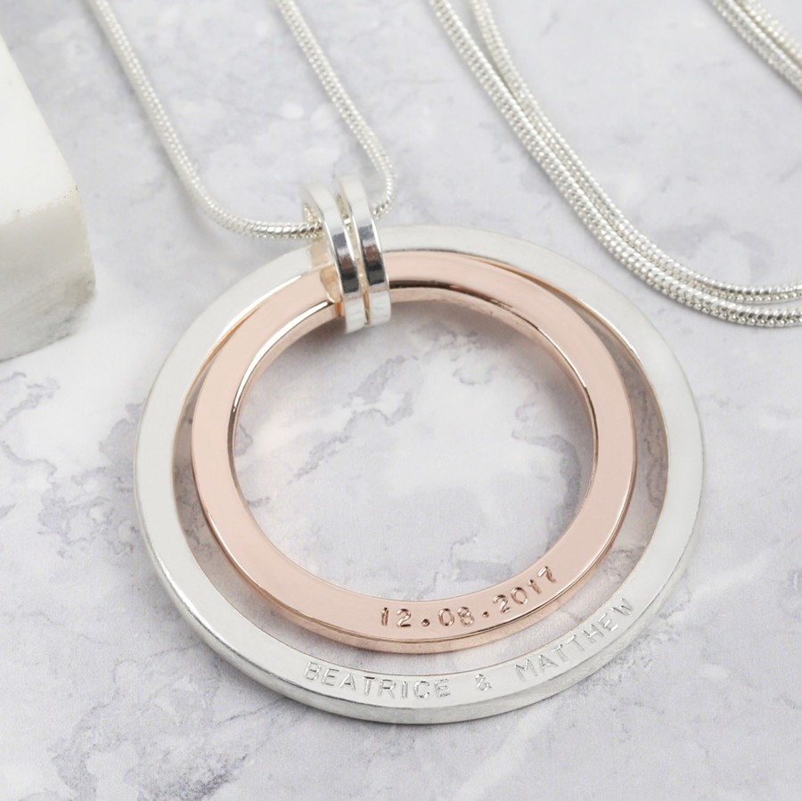 Personalised double circle necklace lisa angel aloadofball Gallery