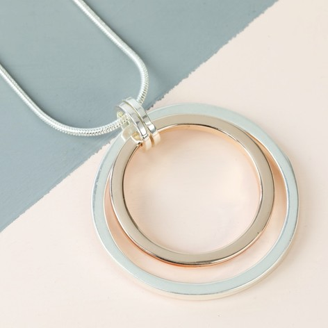 Long mixed metal double circle necklace lisa angel long mixed metal double circle necklace aloadofball Image collections