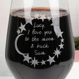 Ladies' Personalised 'Love You to the Moon & Back' Wine Glass